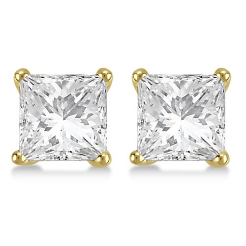 1.00ct. Princess Diamond Stud Earrings 18kt Yellow Gold (H, SI1-SI2)