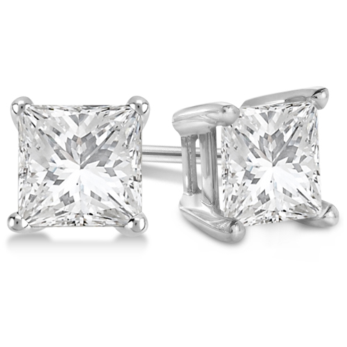 1.00ct. Princess Diamond Stud Earrings 14kt White Gold (G-H, VS2-SI1)