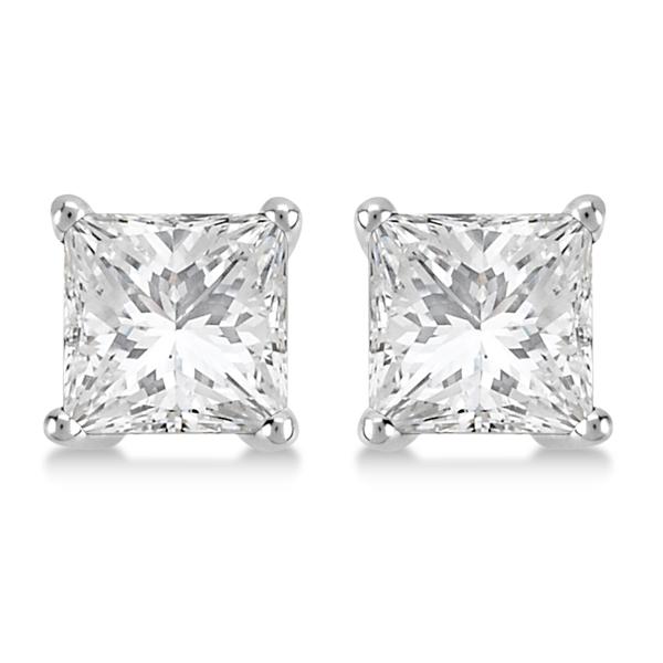 1.00ct. Princess Diamond Stud Earrings 18kt White Gold (G-H, VS2-SI1)