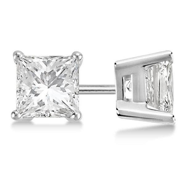 1.50ct. Princess Moissanite Stud Earrings 14kt White Gold (F-G, VVS1)