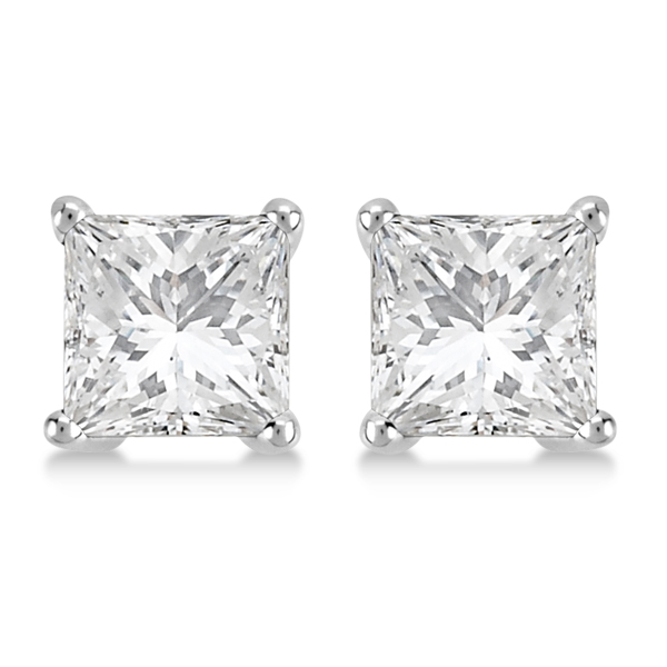0.50ct. Princess Diamond Stud Earrings Palladium (G-H, VS2-SI1)