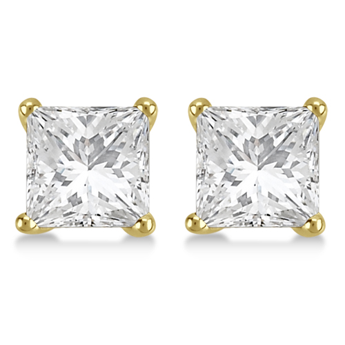2.50ct. Martini Princess Diamond Stud Earrings 18kt Yellow Gold (H-I, SI2-SI3)