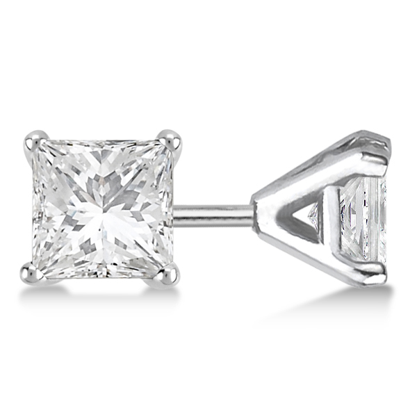 1.00ct. Martini Princess Diamond Stud Earrings 14kt White Gold (H, SI1-SI2)