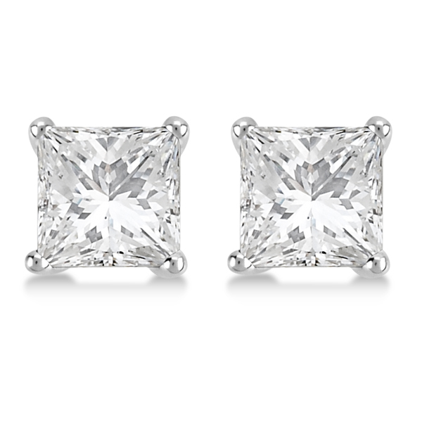 4.00ct. Martini Princess Diamond Stud Earrings 14kt White Gold (H, SI1-SI2)