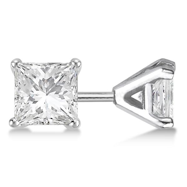 1.00ct. Martini Princess Diamond Stud Earrings 18kt White Gold (H, SI1-SI2)