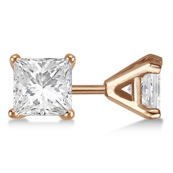 0.75ct. Martini Princess Lab Grown Diamond Stud Earrings 14kt Rose Gold (H, SI1-SI2)