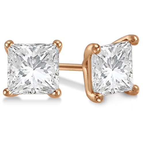 0.75ct. Martini Princess Diamond Stud Earrings 14kt Rose Gold (G-H, VS2-SI1)