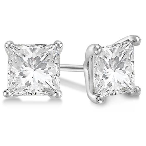 0.75ct. Martini Princess Diamond Stud Earrings 14kt White Gold (G-H, VS2-SI1)