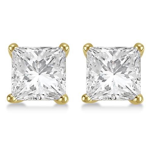 1.50ct. Martini Princess Diamond Stud Earrings 14kt Yellow Gold (G-H, VS2-SI1)