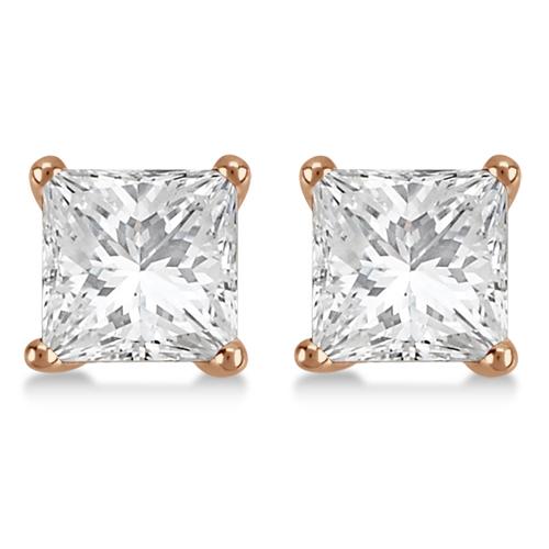 1.00ct. Martini Princess Diamond Stud Earrings 18kt Rose Gold (G-H, VS2-SI1)