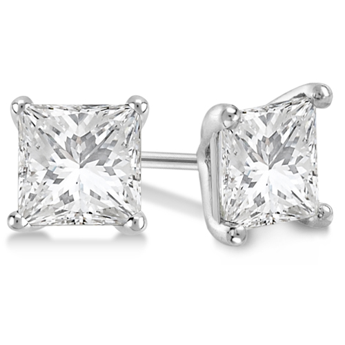 2.00ct. Martini Princess Diamond Stud Earrings Palladium (G-H, VS2-SI1)