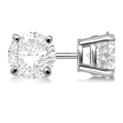 3.00ct. 4-Prong Basket Diamond Stud Earrings 14kt White Gold (G-H, VS2-SI1)