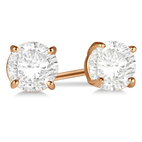 1.00ct. 4-Prong Basket Diamond Stud Earrings 18kt Rose Gold (G-H, VS2-SI1)