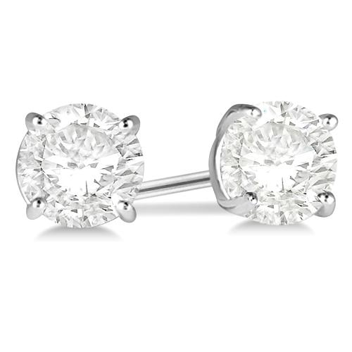 3.00ct. 4-Prong Basket Diamond Stud Earrings 18kt White Gold (G-H, VS2-SI1)