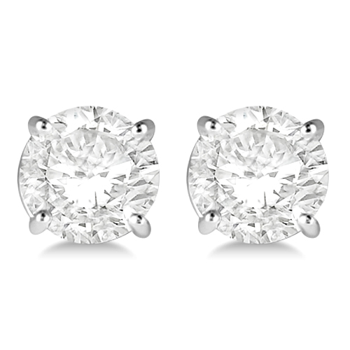 2.00ct. 4-Prong Basket Diamond Stud Earrings Palladium (G-H, VS2-SI1)
