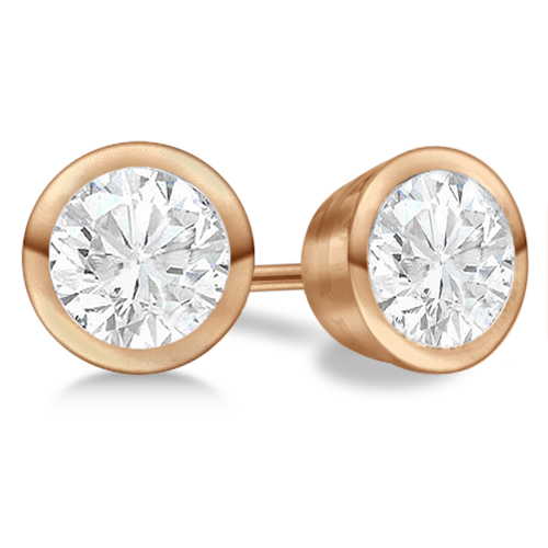 4.00ct. Bezel Set Diamond Stud Earrings 14kt Rose Gold (H-I, SI2-SI3)