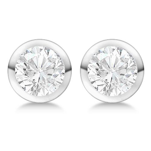 0.75ct. Bezel Set Diamond Stud Earrings 14kt White Gold (H-I, SI2-SI3)