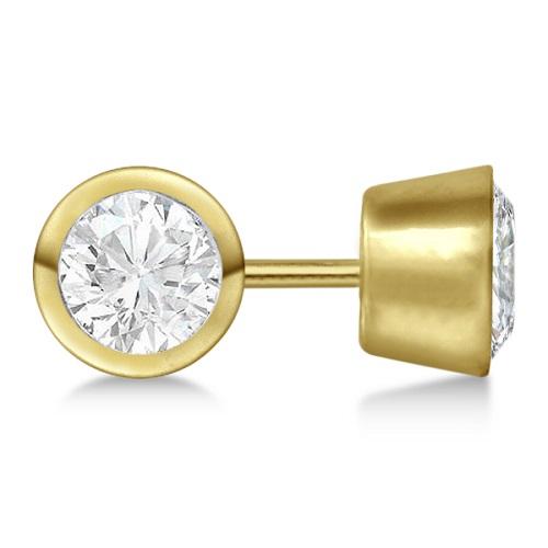 0.75ct. Bezel Set Diamond Stud Earrings 14kt Yellow Gold (H-I, SI2-SI3)