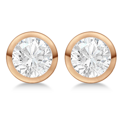 4.00ct. Bezel Set Diamond Stud Earrings 18kt Rose Gold (H-I, SI2-SI3)