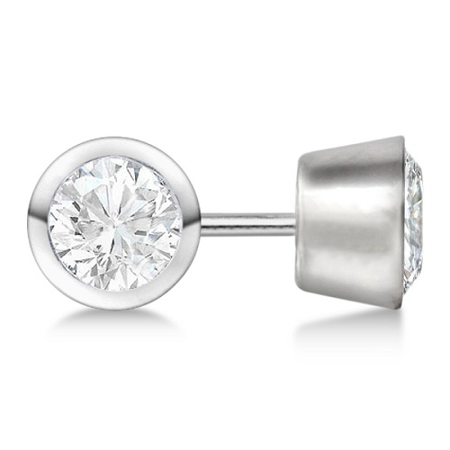 0.50ct. Bezel Set Diamond Stud Earrings Palladium (H-I, SI2-SI3)