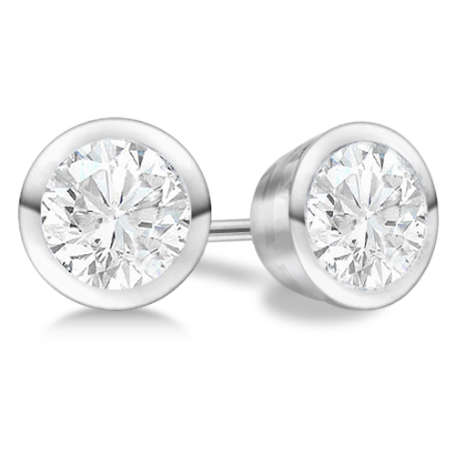 1.50ct. Bezel Set Diamond Stud Earrings 18kt White Gold (H, SI1-SI2)