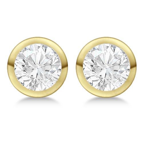 1.00ct. Bezel Set Diamond Stud Earrings 18kt Yellow Gold (H, SI1-SI2)