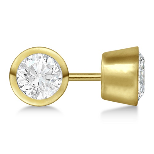0.75ct. Bezel Set Diamond Stud Earrings 18kt Yellow Gold (H, SI1-SI2)