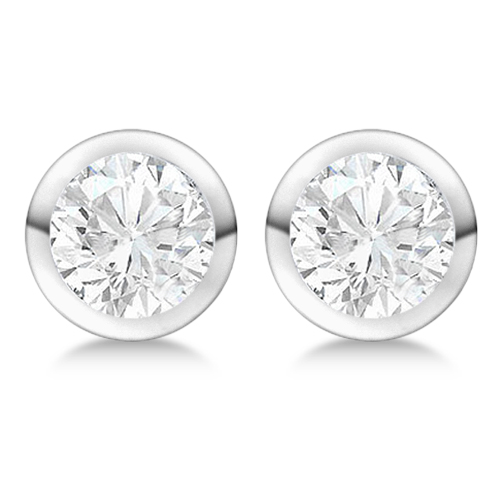 4.00ct. Bezel Set Diamond Stud Earrings Platinum (H, SI1-SI2)