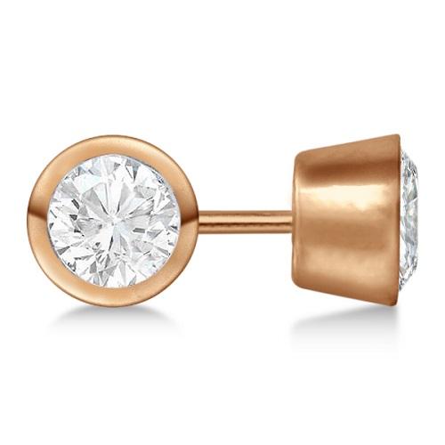 0.50ct. Bezel Set Diamond Stud Earrings 18kt Rose Gold (G-H, VS2-SI1)
