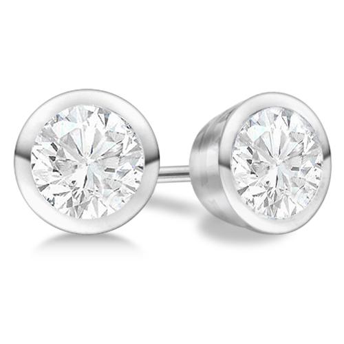 1.00ct. Bezel Set Diamond Stud Earrings 18kt White Gold (G-H, VS2-SI1)