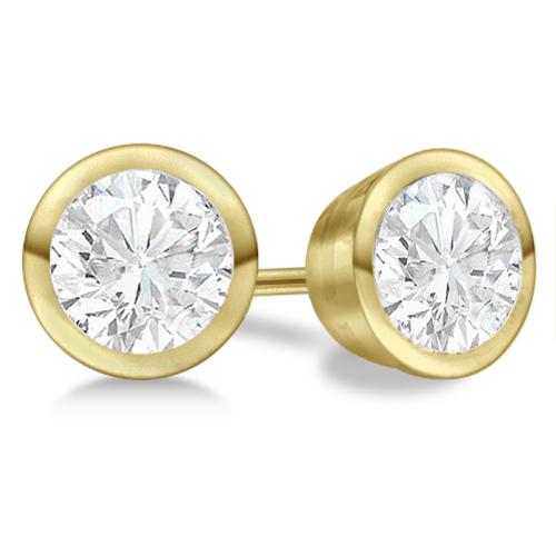Bezel Set Diamond Stud Earrings 18kt Yellow Gold G H Vs2