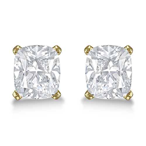 1.00ct. Cushion-Cut Diamond Stud Earrings 14kt Yellow Gold (H, SI1-SI2)