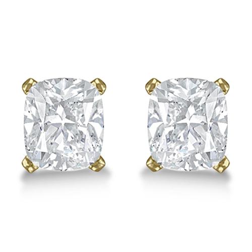 0.50ct. Cushion-Cut Diamond Stud Earrings 18kt Yellow Gold (H, SI1-SI2)