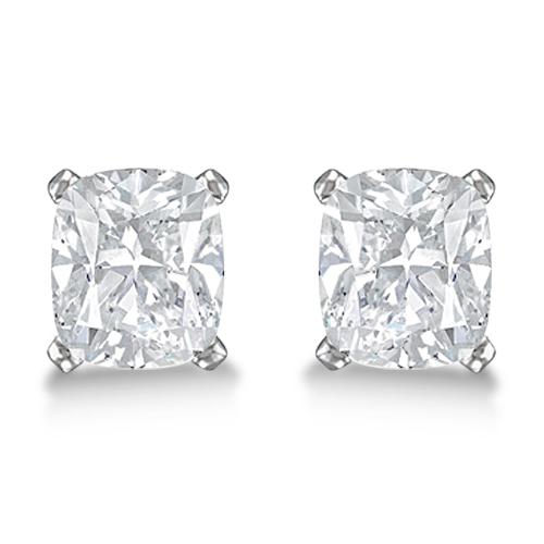 1.50ct. Cushion-Cut Diamond Stud Earrings Platinum (H, SI1-SI2)
