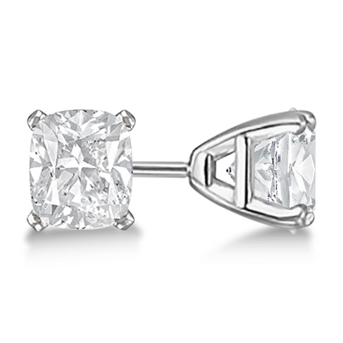 Cushion Cut Diamond Stud Earrings 14kt White Gold G H Vs2