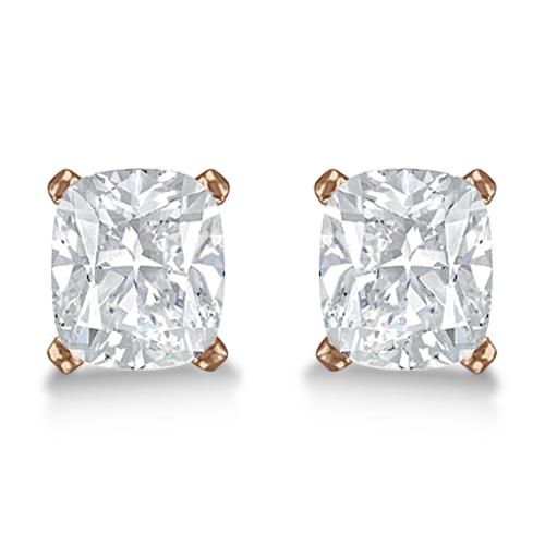 1.00ct. Cushion-Cut Diamond Stud Earrings 18kt Rose Gold (G-H, VS2-SI1)