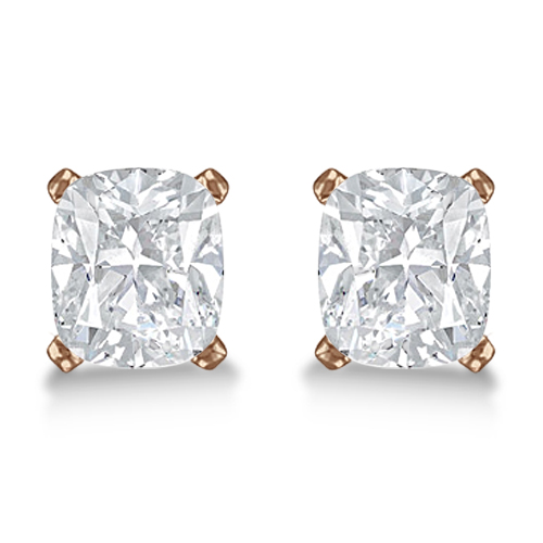 2.00ct. Cushion-Cut Diamond Stud Earrings 18kt Rose Gold (G-H, VS2-SI1)