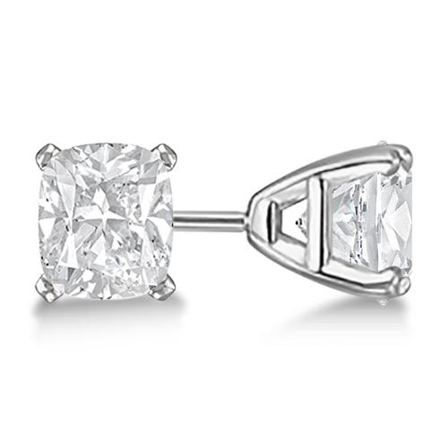 1.50ct. Cushion-Cut Moissanite Stud Earrings Platinum (F-G, VVS1)