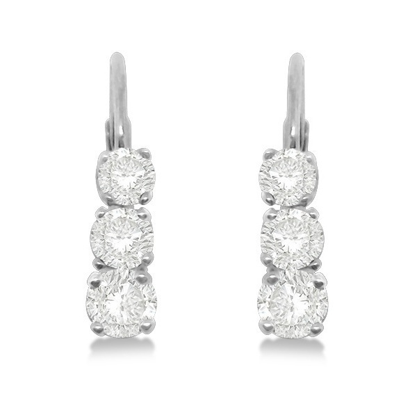 Three-Stone Leverback Diamond Earrings 14k White Gold (0.24ct)