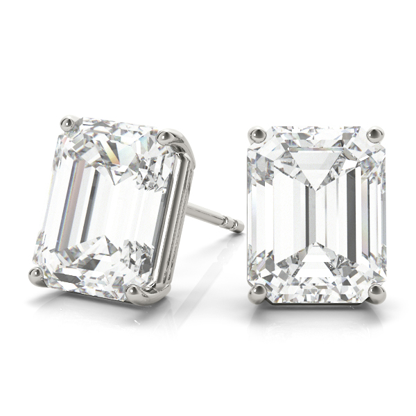 0.75ct Emerald-Cut Lab Grown Diamond Stud Earrings 14kt White Gold (G-H, VS2-SI1)