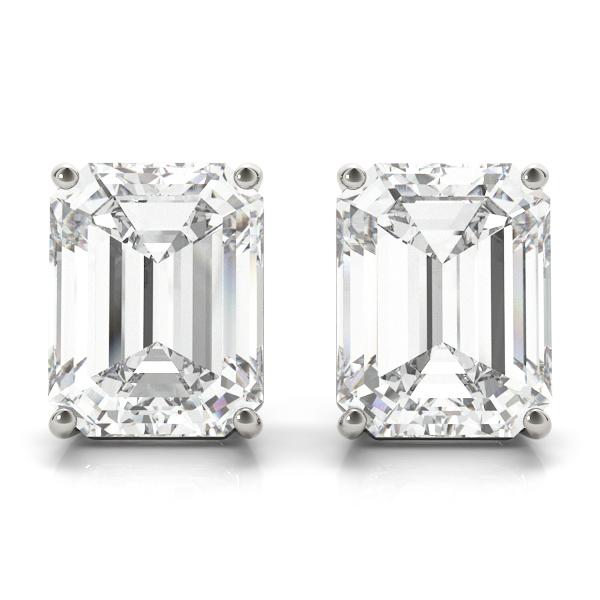 0.75ct Emerald-Cut Lab Grown Diamond Stud Earrings Platinum (G-H, VS2-SI1)