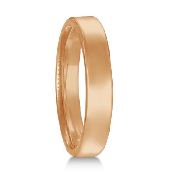 Euro Dome Comfort Fit Wedding Ring Band 14k Rose Gold (3mm)
