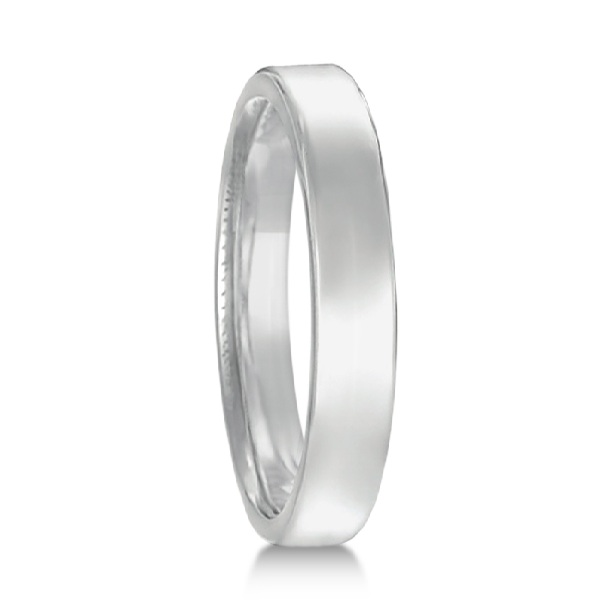 Euro Dome Comfort Fit Wedding Ring Band 14k White Gold (3mm)