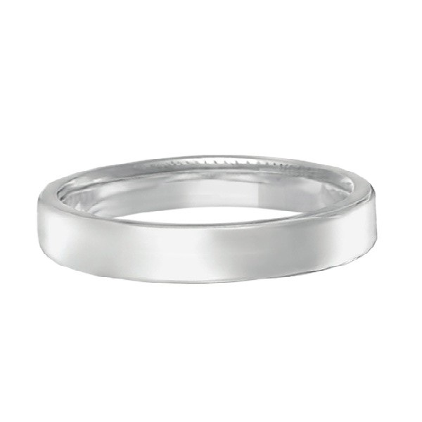 Euro Dome Comfort Fit Wedding Ring Band 18k White Gold (3mm)