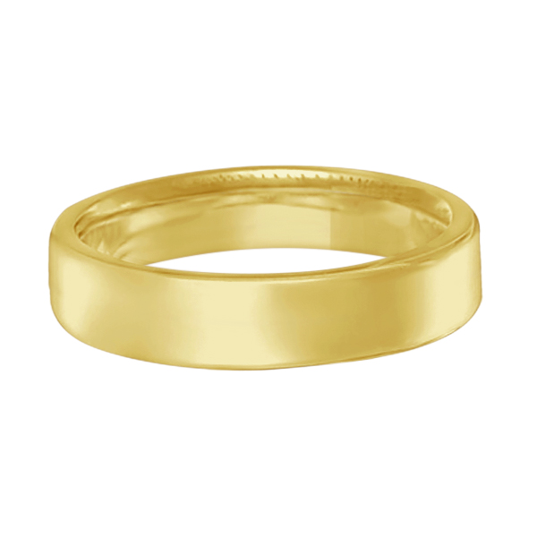 Euro Dome Comfort Fit Wedding Ring Band 14k Yellow Gold (4mm)
