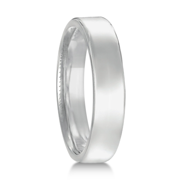 Euro Dome Comfort Fit Wedding Ring Band 18k White Gold (4mm)