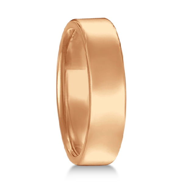 Euro Dome Comfort Fit Wedding Ring Men's Band 14k Rose Gold (5mm)