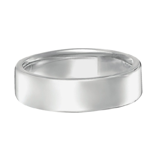 Euro Dome Comfort Fit Wedding Ring Men's Band 14k White Gold (5mm)