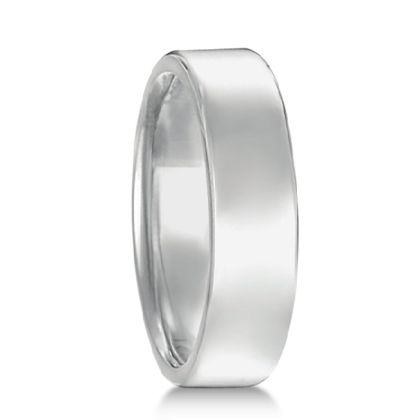 Euro Dome Comfort Fit Wedding Ring Men's Band 18k White Gold (5mm)