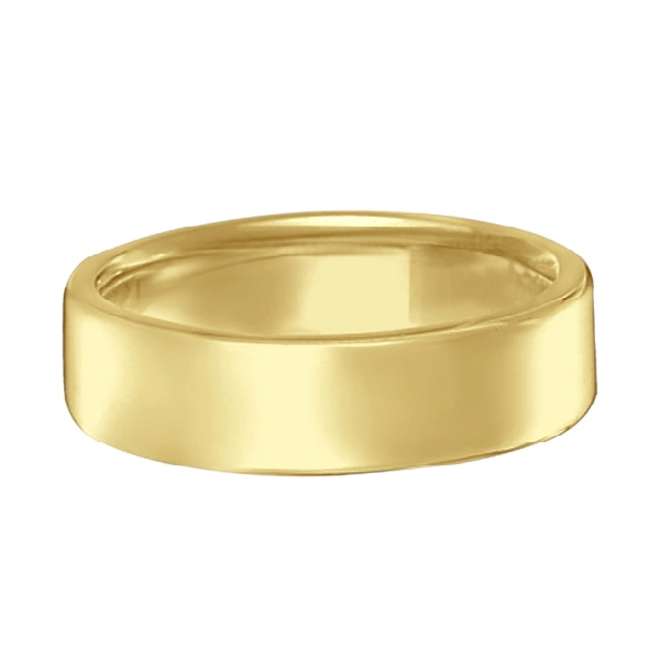 Euro Dome Comfort Fit Wedding Ring Men's Band 18k Yellow Gold (5mm)